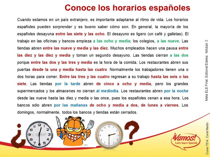 Los horarios (CE)  Use when reviewing telling time this year.