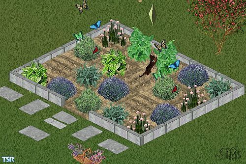 Includes: Herbs(6), Soil, Fence, Stone paths(3), Animated Butterflies, Herb basket.  Found in TSR Category 'Miscellaneous'