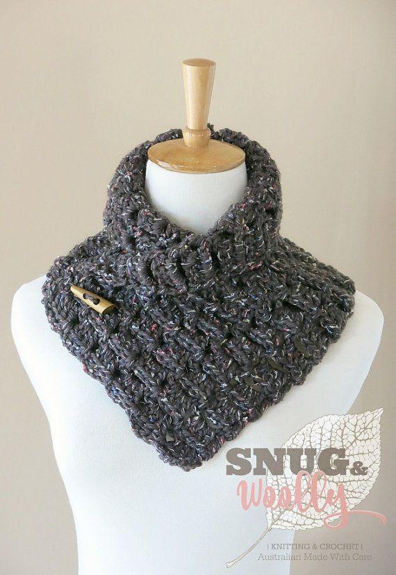 Crochet Button Cowl | Outlander Inspired | Neck Warmer | Colour - Dark Brown Tweed | Ready to Ship