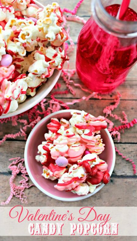 Easy Valentine's Day Candy Popcorn - the perfect treat for Valentine's day parties!