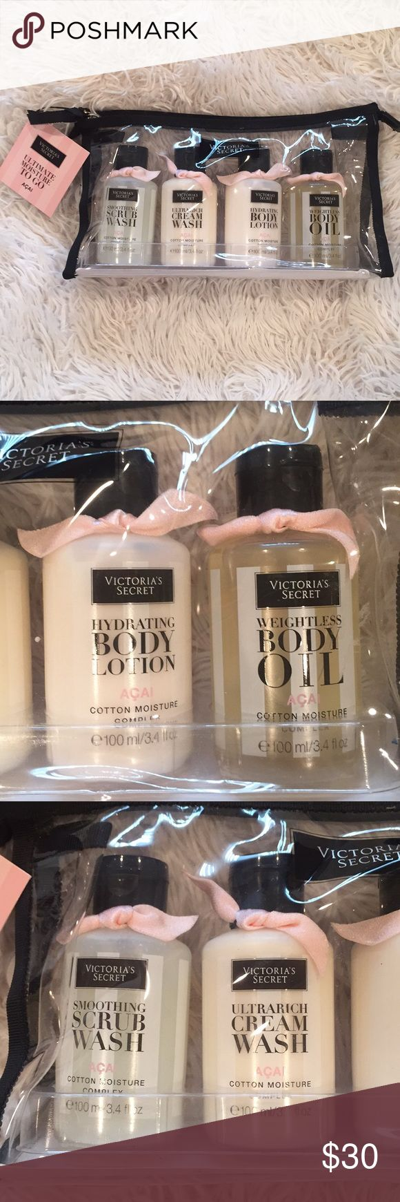Victoria's Secret ultimate moisture TO GO Brand new with tags. Including smoothing scrub wash, ultimate cream wash, hydrating body lotion, weightless body oil. Each one is 100ml/3.4 fl oz. Victoria's Secret Other