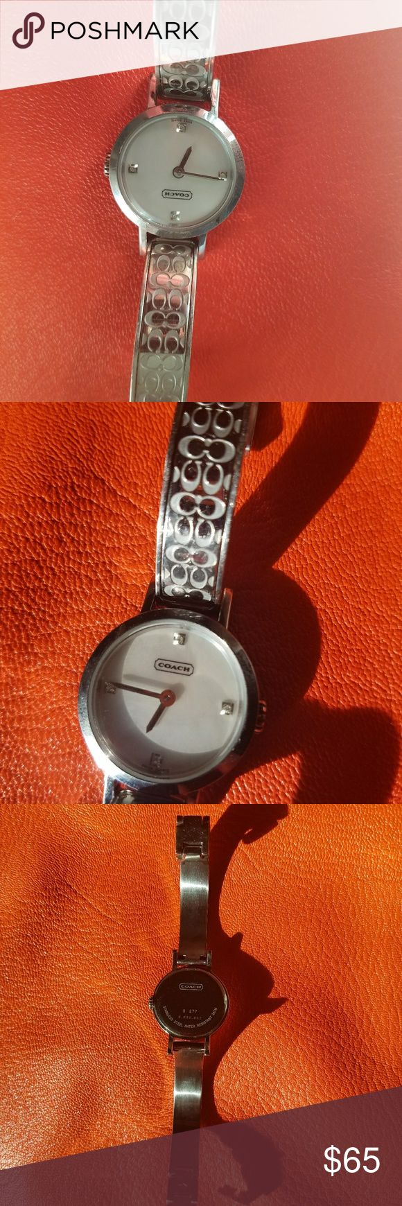 Coach womens watch Very cute Coach watch. I had it fitted to my smaller wrist . I took out a few of the chains links. I have the extra chain links. Battery needs to be replaced. Worn for a few months. It has a slight black mark on the left face (rim) of watch.  Please ask questions. Coach Accessories Watches