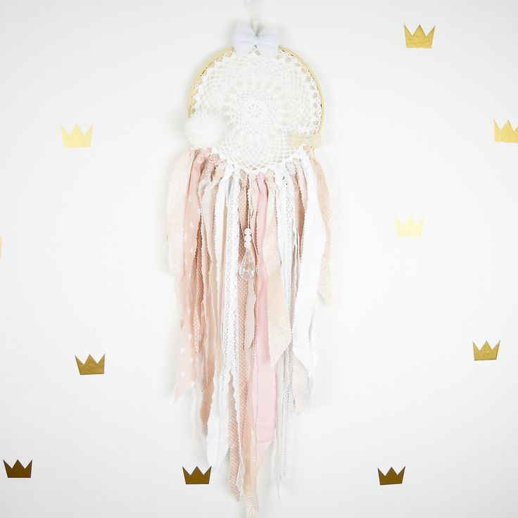 Dream catcher Kids Teepee Decoration Wall art dreamcatcher wall hanging mobile- Soft Pink by MamaPotrafi on Etsy
