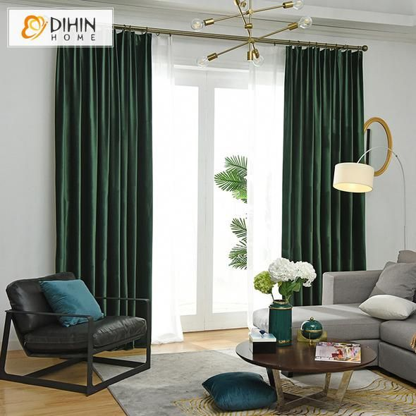 Dihin Home Exquisite Solid Dark Green Printed Blackout Grommet Window Curtain For Living Green Curtains Living Room Curtains Living Room Dark Green Living Room