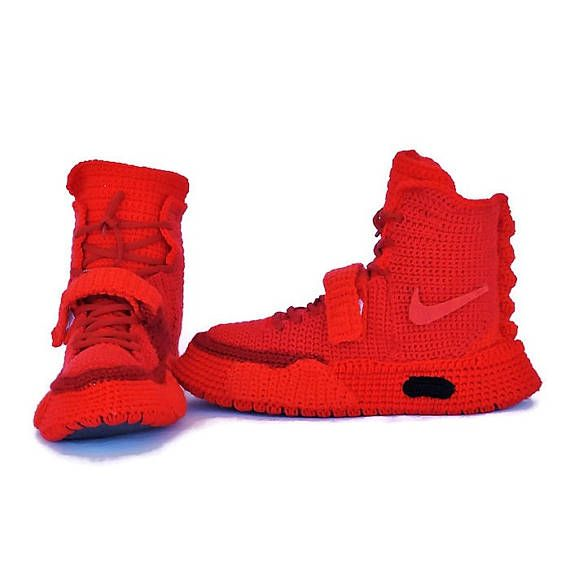 Crochet Nike Air Yeezy 2 Red October, Nike Air Yeezy 2 Knitted Slippers , Crochet Yeezy Boost, Nike Crochet Slippers, Crochet Adult Sneakers