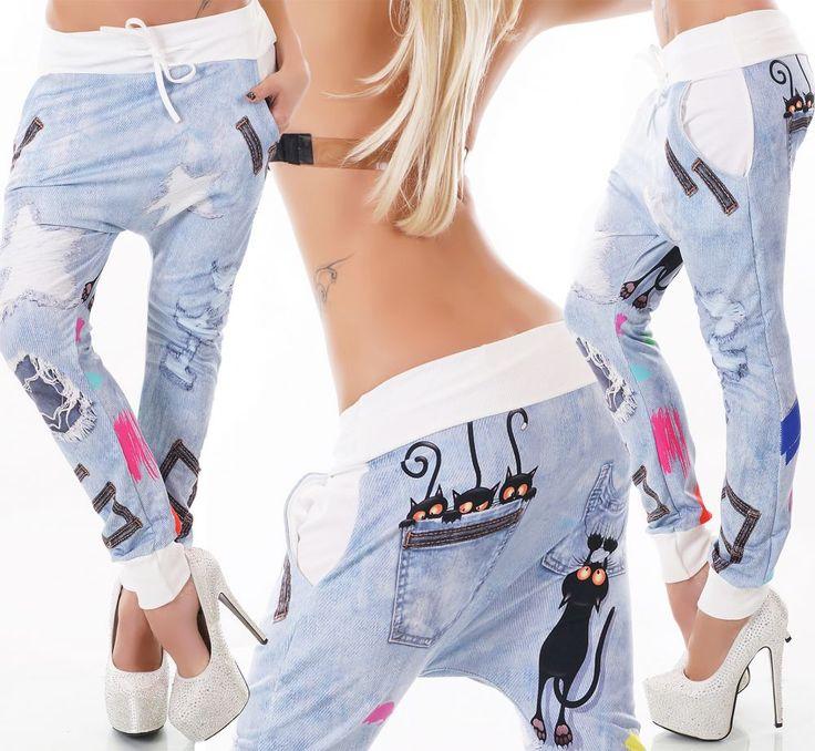 Fehér farmerhatású ülepes nadrág