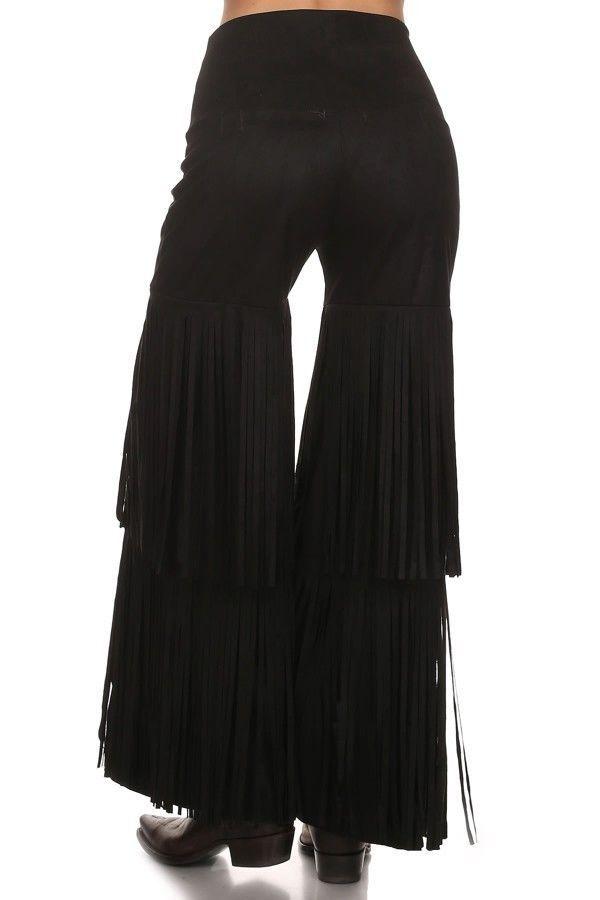 Gypsy Cowgirl Chic Trendy Boho Tier Fringe Faux Suede Pants S-2XL Gift 4 Her #GypsyCowgirlChic #DressPants