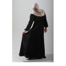 Basic Black Chiffon Maxi Dress Shop Online Perfect for muslimah nursing or breastfeeding