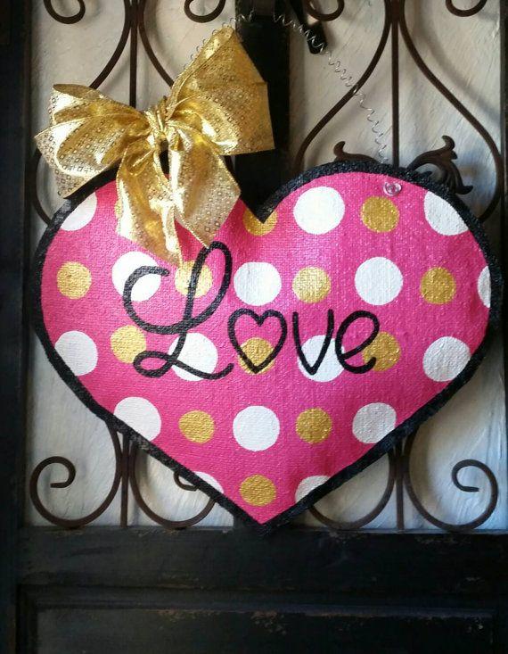 Valentines day burlap door hanger,  Hand painted, burlap door hangers, door decorations, holiday decorations, Wreath