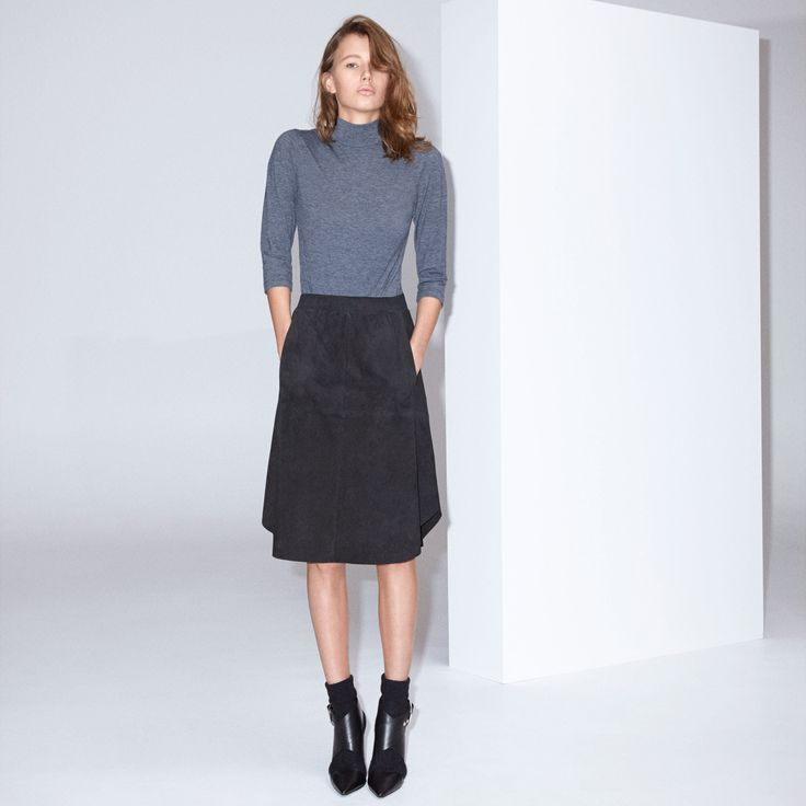 FWSS Incidental Boogie is a flowy, soft suede skirt with embroidery stitching on the front pockets, an elasticated waist and a laser-cut hem.