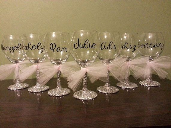 15 (Fifteen) Bridesmaid Glitter Stemmed Wine Glasses on Etsy, £90.67