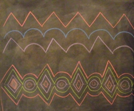 Waldorf ~ 2nd grade ~ Form Drawing ~ Using forms together to create patterns ~ chalkboard drawing