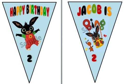 3 metre personalised birthday party Bing Bunny bunting banner