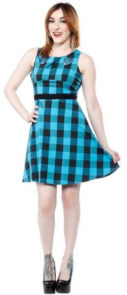 Sourpuss usa Buffalo plaid print swallowsbirds print dress black blue jurk schotse ruit zwart blauw print vogel print