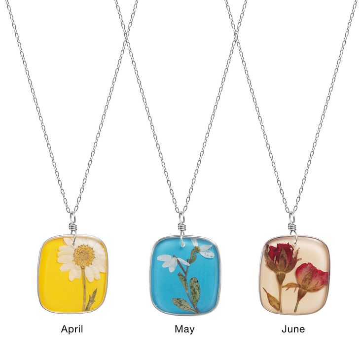 Birthday Flower Necklace - A unique and graceful way to fete a birthday, these luscious bouquets keep individuality in full bloom with 12 different dried, pressed flowers showcased in a resin pendant.