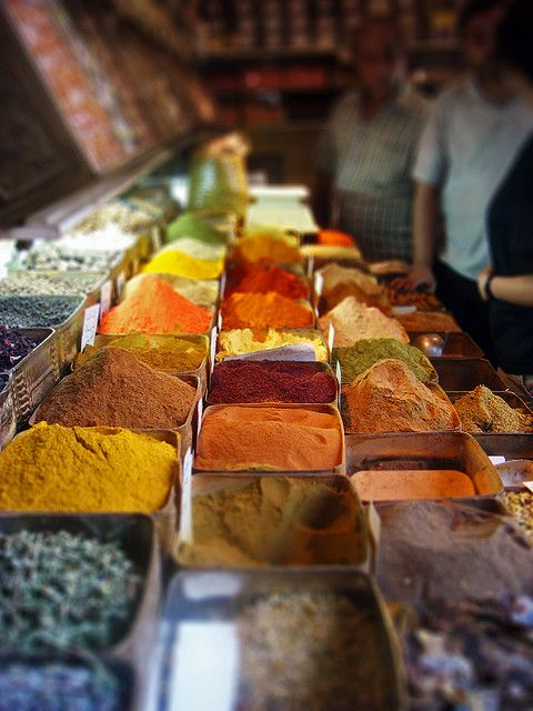 Spices at a local market in Syria. Can you just imagine what we could cook with these?