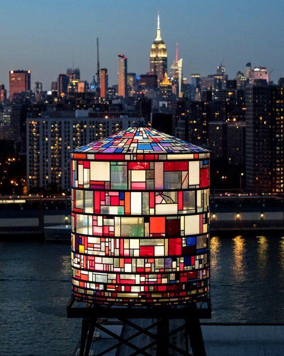 "NYC Skyline, New York Print, NYC Art, Brooklyn Art, NYC Water Tower, Tom Fruin, Tom Fruin Art, Tom Fruin Watertower, ""City of Glass""   – Neropure – Steel water tanks"