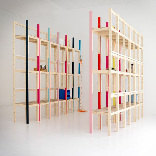 6 units of Latten wooden chairs, 2 horizontal and 4 vertical pine sticks zip-tied together to create a shelving unit // Max & Hannes Gumpp