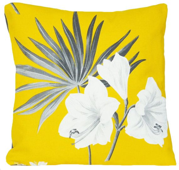 Yellow Curry Cushion Cover Floral Pillow Throw Case Fabric Cotton Printed Textile White Grey