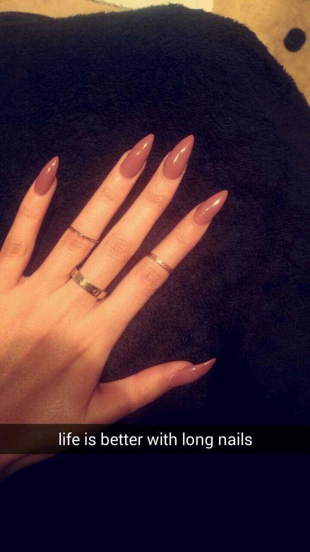 Life is better with long nails! Nude acrylics stiletto