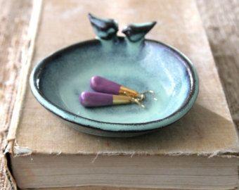 Business Card Holder  Blue Bird Ceramic  16 Custom Color