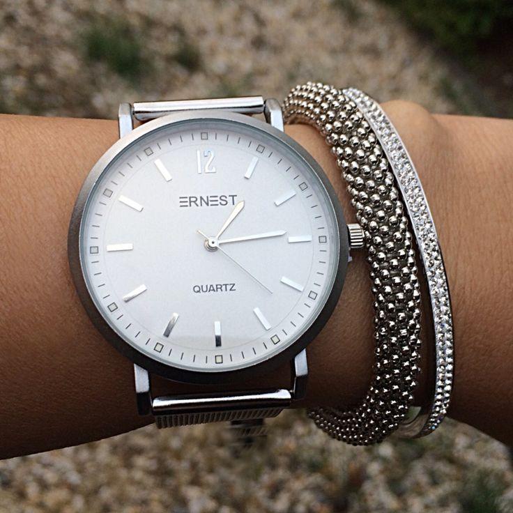 Armband horloge set Shiny Zilver