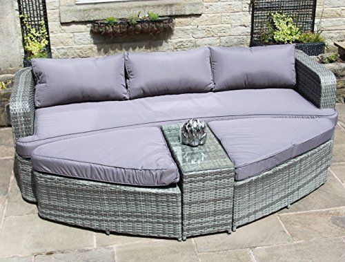 grey rattan lounge set sofa with table ottomans outdoor garden furniture - Garden Furniture Kidderminster
