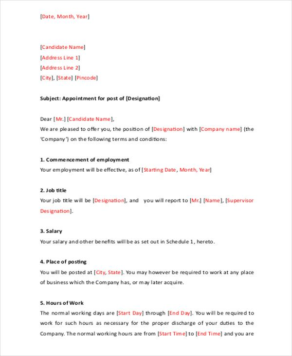 appointment letter templates free sample example format download formats amp samples for word