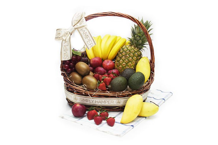 Cornucopia Grande ($95.00): Cornucopia Grande is a wholesome fruit hamper featuring a succulent vine-ripened pineapple partnered with delicious organic bananas, and topped off with clusters of gorgeous grapes,  kiwis, scrumptious berries and delectably gigantic strawberries.