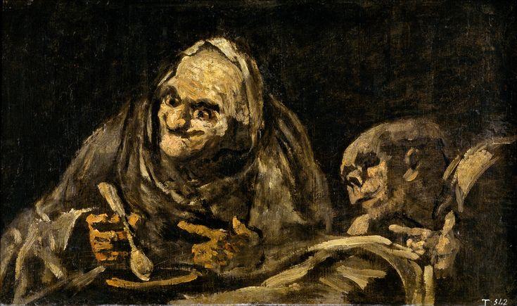 Dos viejos comiendo sopa. Black Paintings. Goya. El Prado, Madrid.