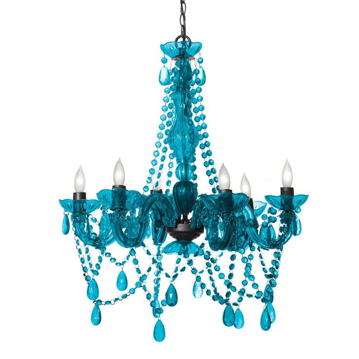 Three Cheers For Girls! 3C4G 6 Light Crystal Chandelier Lamp Turquoise Blue $129 #ThreeCheersforGirls #Modern