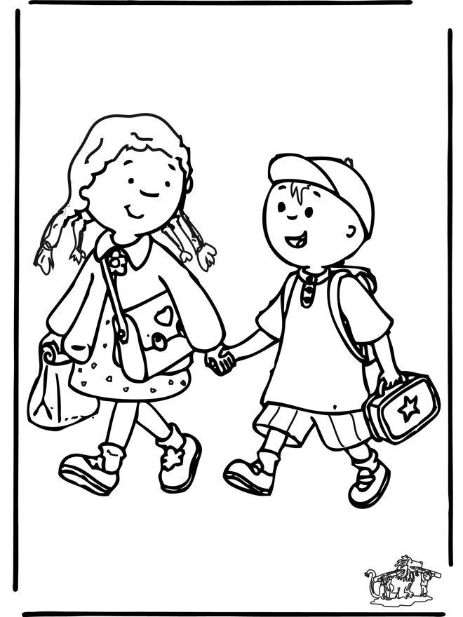 Coloriage Petit Caillou en route pour l'école