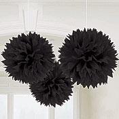 Black Fluffy Ball Decorations Pkg/3                                                                                                                                                                                 Plus