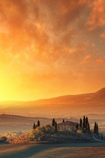 Autumn sunrise, Tuscany, Italy