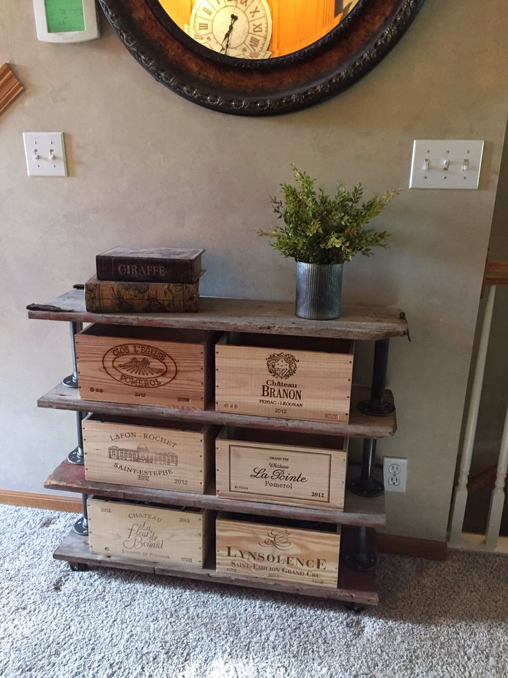 Wine crate storage custom made with reclaimed