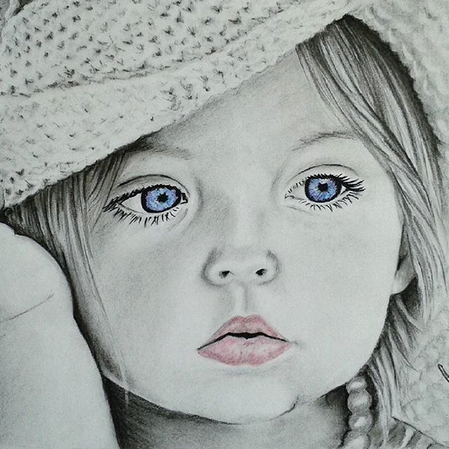 Finished this #beautifulchild with #blueeyes I've used some color - and it turned all right ;)