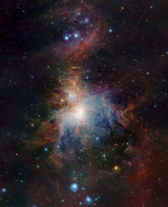 Wide-field view of the Orion Nebula (Messier 42), lying about 1350 light-years from Earth, was taken with the VISTA infrared survey telescope at ESO's Paranal Observatory in Chile.