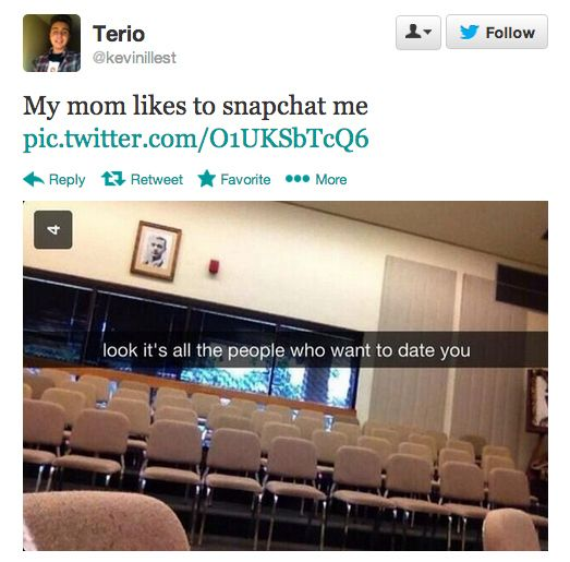 The mom who secretly hates you:   The 20 Types Of Moms That Use Snapchat