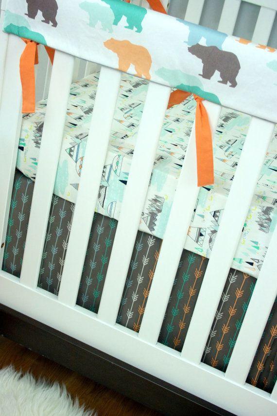 Rail Guard Baby Bedding Bumperless Crib Set Bear by modifiedtot