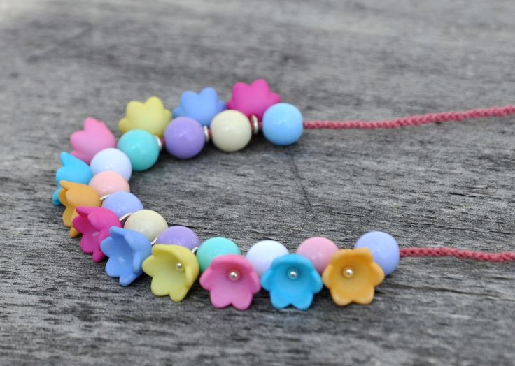 handmade necklace, flower acrylic beads on handcrocheted string,
