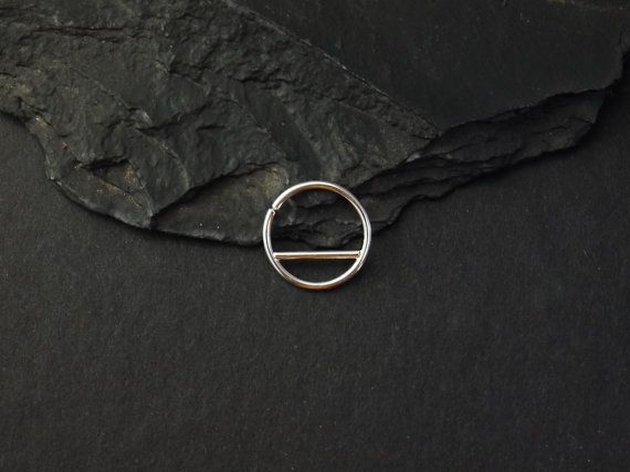 Silver Septum Ring  geometric septum  sterling by SNAKESninjaMETAL