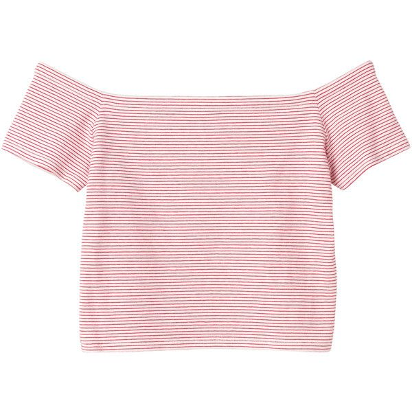 Monki Mirja top ($14) ❤ liked on Polyvore featuring tops, t-shirts, shirts, crop tops, sleek stripes, boat neck t shirt, stripe shirt, pink crop top, crop shirts and crop t shirt
