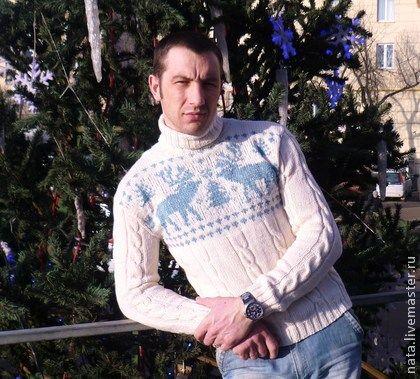 Свитер с оленями мужской ручная работа - белый,свитер,свитер женский