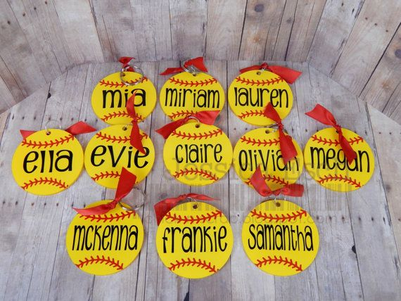 Personalized Softball Key Chain~ Bag Tag....Party Favor/ Team Gifts .... Custom