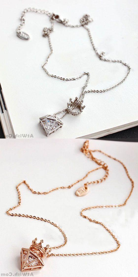 1d02c662cc9 Fashion Short Chain Crown Cubic Zircon Crown Diamond Pendant Necklace # necklace #crown
