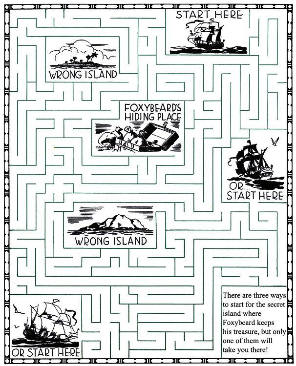 Foxybeard Pirate Maze Puzzle.