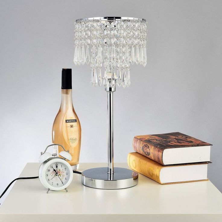 2 Tier Crystal Chandelier Table Lamp Silver Chrome Bedroom Living Room Decor
