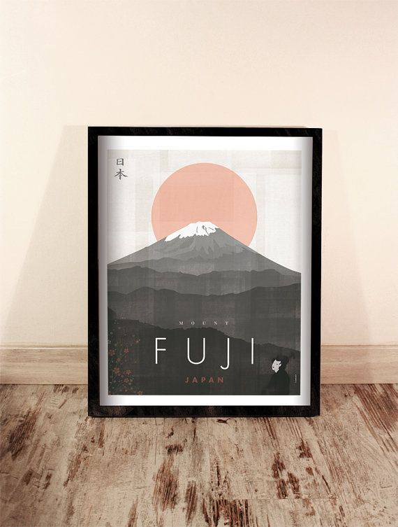 Mount Fuji. Japan. Wall Decor Art. Poster. Illustration. Digital Print.  Travel