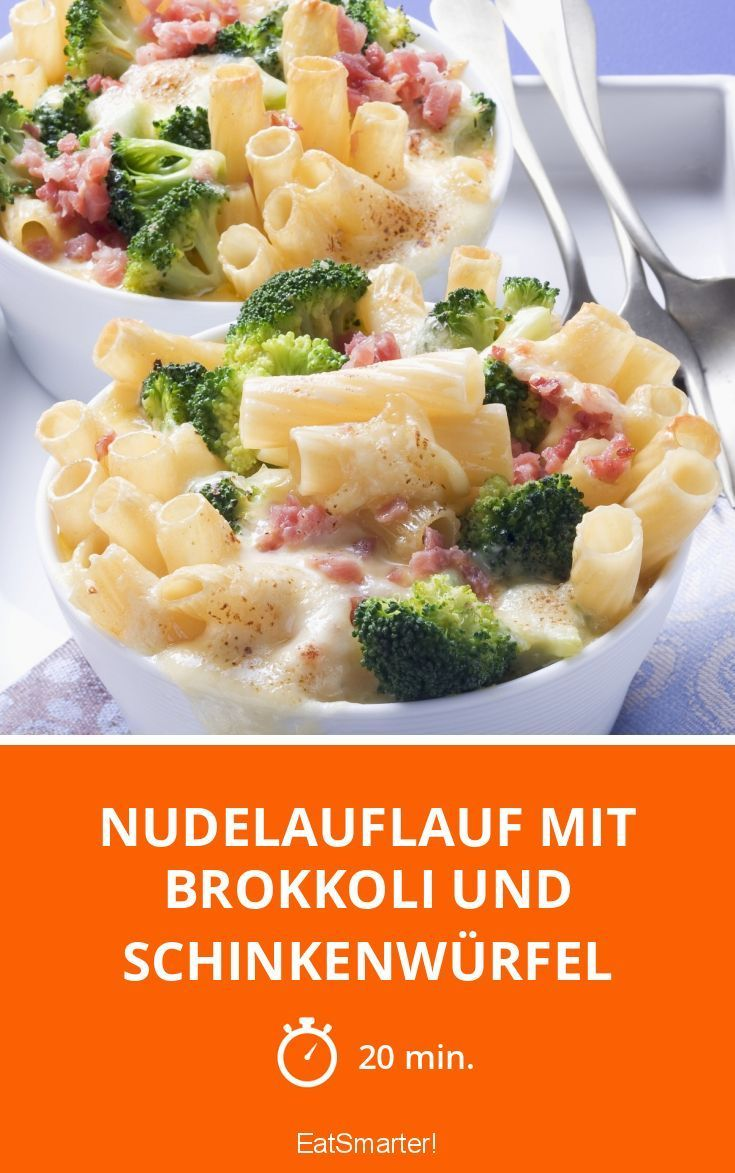 Nudelauflauf mit Brokkoli und Schinkenwürfel - smarter - Zeit: 20 Min. | eatsmarter.de