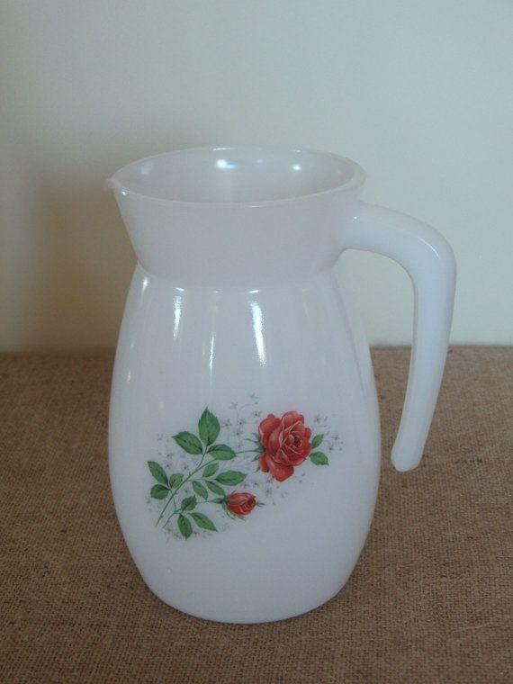 French Vintage Arcopal Milk Glass Pitcher Jug Roses
